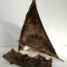 Vintage Copper Sailboat Log Raft Art Sculpture