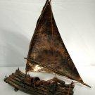 Vintage Copper Sailboat Log Raft Art Sculpture