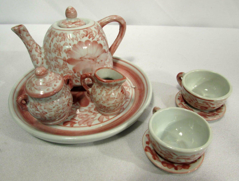 Vintage Child's Doll Porcelain Tea Set 10PC Pink Floral NICE