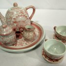 Vintage Child's Doll Porcelain Tea Set 10PC Pink Floral NICE