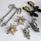 Vintage Coro + Earrings (4 Pairs) Crystal Rhinestone Clip-on & Screw-on