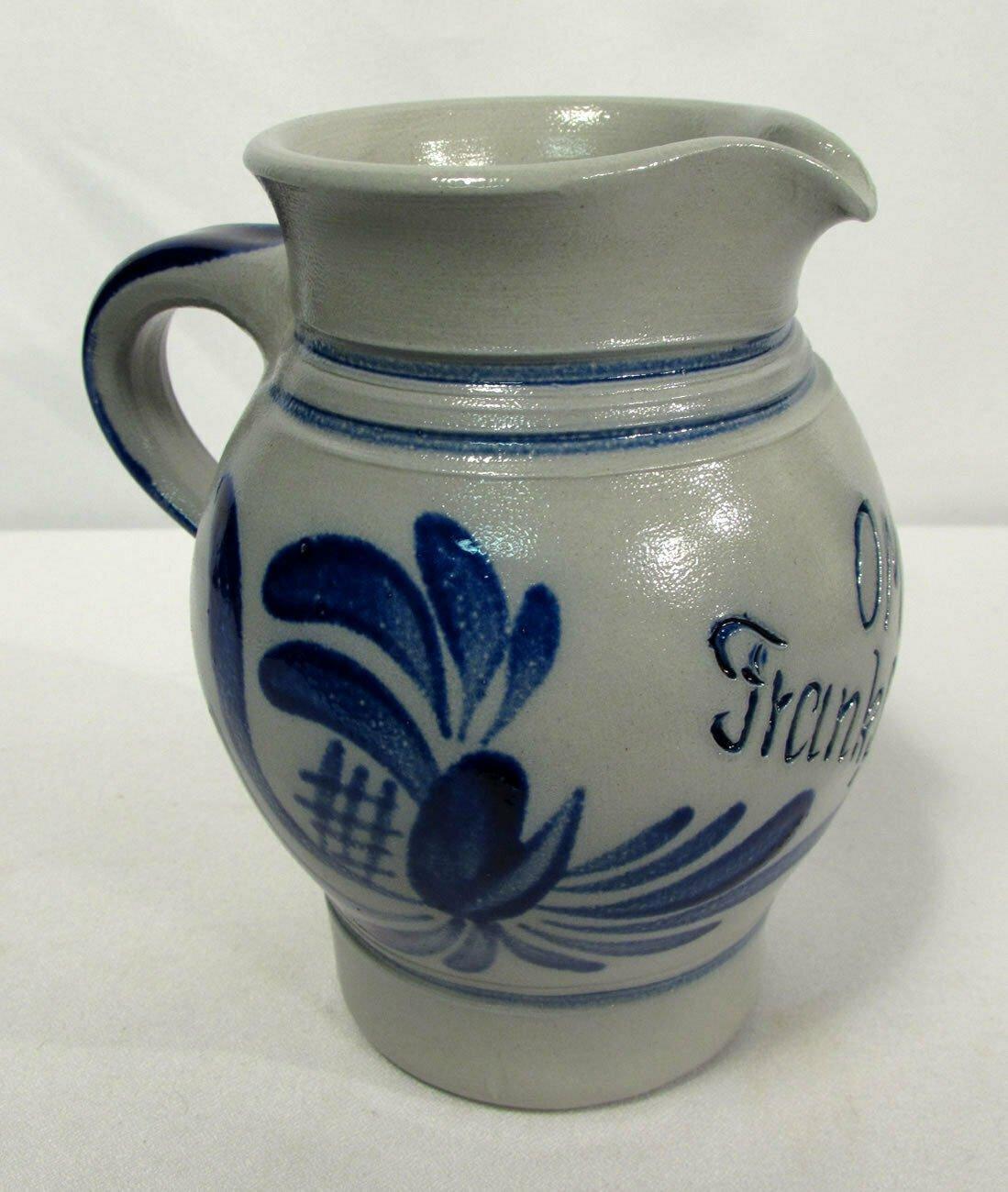 2002 Handarbeit German Salt Glazed Stoneware Pitcher Cobalt Blue 0.5L NICE