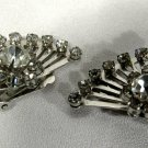 Vintage Signed Coro Crystal Rhinestone Fan Clip-on Earrings Silver Tone