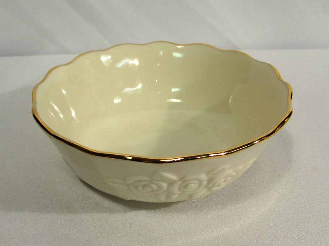 Vintage Lenox China Cereal Candy Bowl Rosebud Collection w/ 24K Gold Trim
