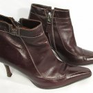 Lambertson Truex Brown Leather Ankle Shoe Boot Slim Heels Size 38 1/2 / US 8