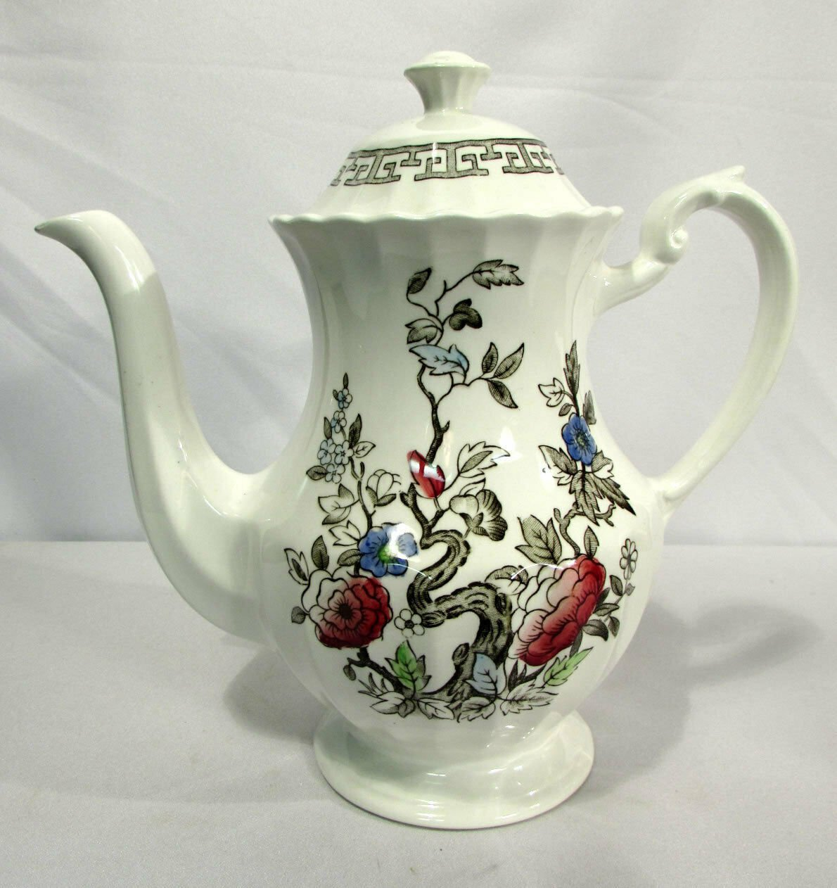 J&G Meakin Coffee Pot 5 Cup England Staffordshire White Kashmir Indian Tree