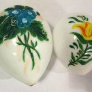 Antique Milk Glass Easter Eggs Blown Large Primitive Handpainted Flowers