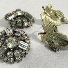 Vintage Earrings Cut Crystal & Enamel Leaf Clip-on (2 pairs)