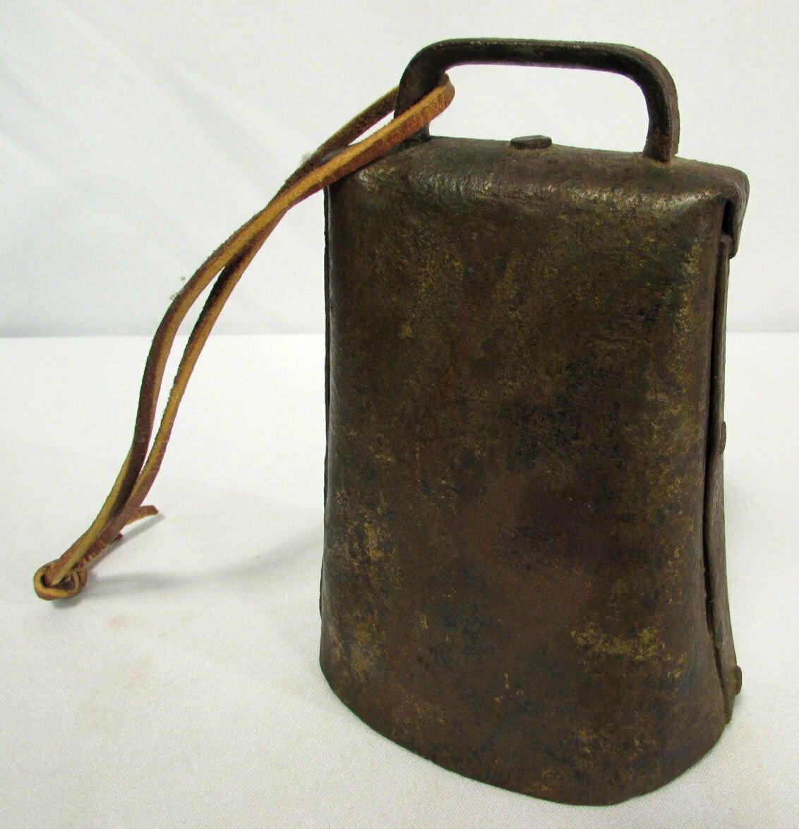"Antique Primitive Cow Bell Farm Livestock Iron Folded Metal Orig Clapper 6 1/4"""