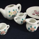 Vintage Child's Doll House Tea Set Porcelain Green Floral Japan 5+ PC NICE