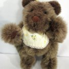 "Vintage 1980s Teddy Bear Brown Jointed Plush Yellow Bib 14"" High"