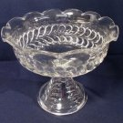 EAPG Pattern Glass Pedestal Open Compote Plume Scalloped Rim Belled Bowl