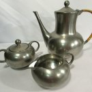 Vintage Pewter Tea Serving Set Teapot Sugar Creamer Royal Holland KMD Tiel