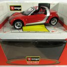 Smart Roadster Car Burago Diamond Collection 1:18 Red w/ Original Box COD. 34099
