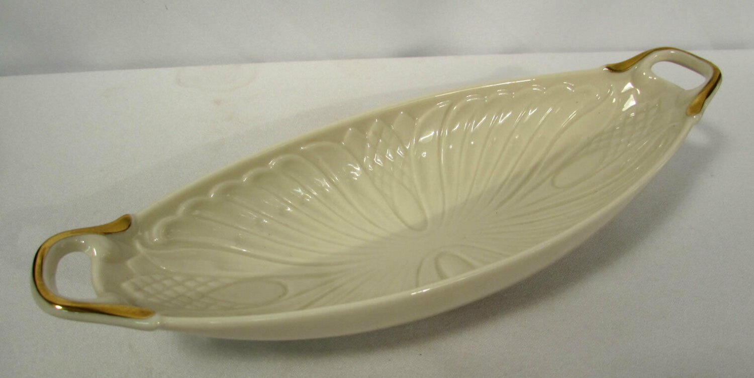 Vintage Lenox Embossed Monaco Two Handled Server Relish Dish 24K Gold Decorated