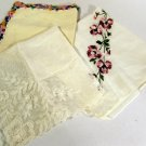 Vintage Ladies Hankies (3) Embroidered Flowers Crocheted Edge Lace Linen