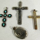 Vintage Cross (3) & Locket Pendants 1/20 12K GF Turquoise Silver