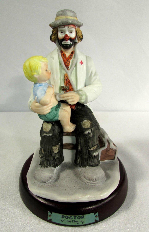 "Emmitt Kelly Jr Clown Figurine ""Doctor"" w/ Child on Lap Flambro #9587"