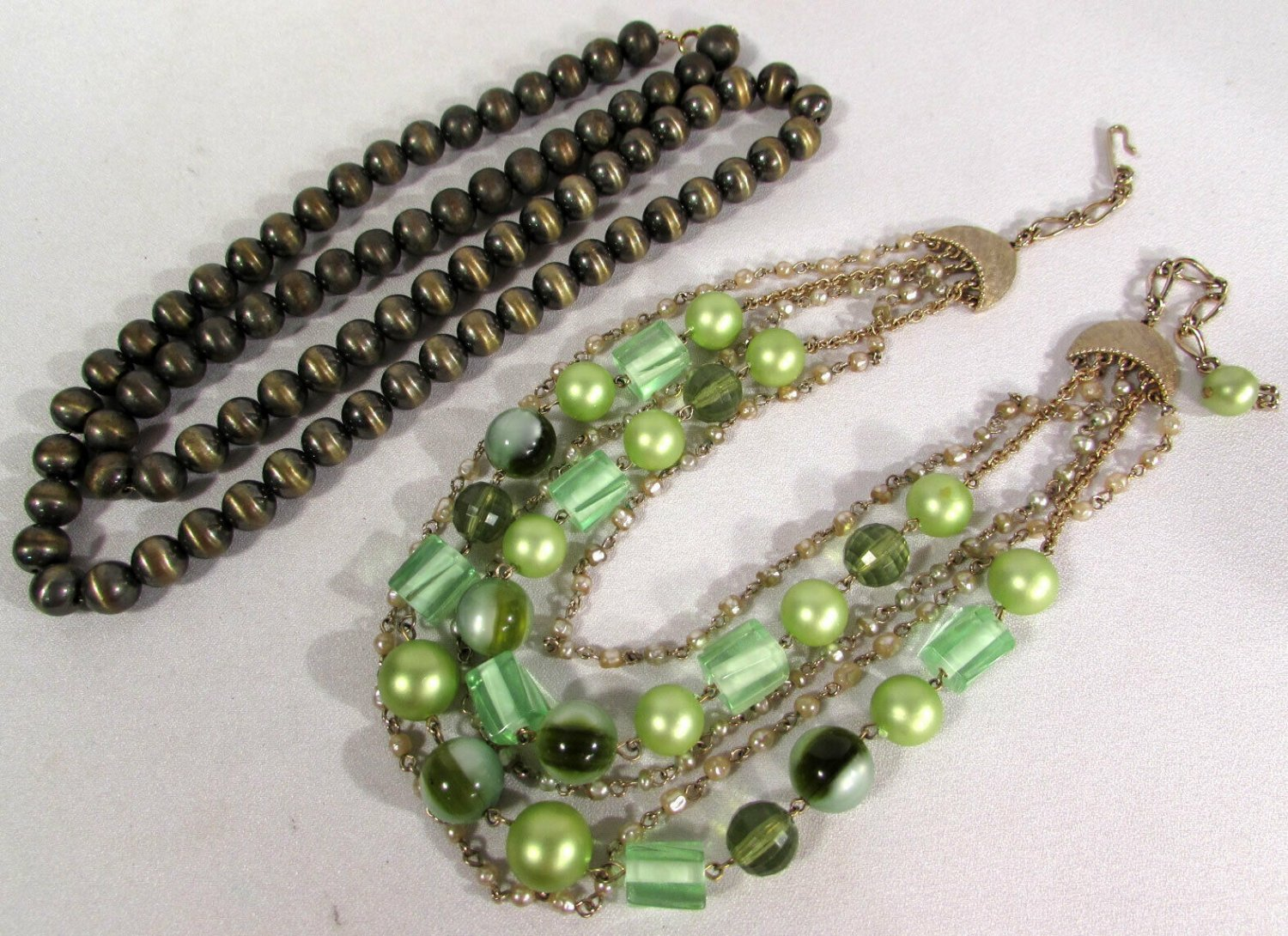 Vintage Costume Jewelry Necklaces (2) Beads & Chains