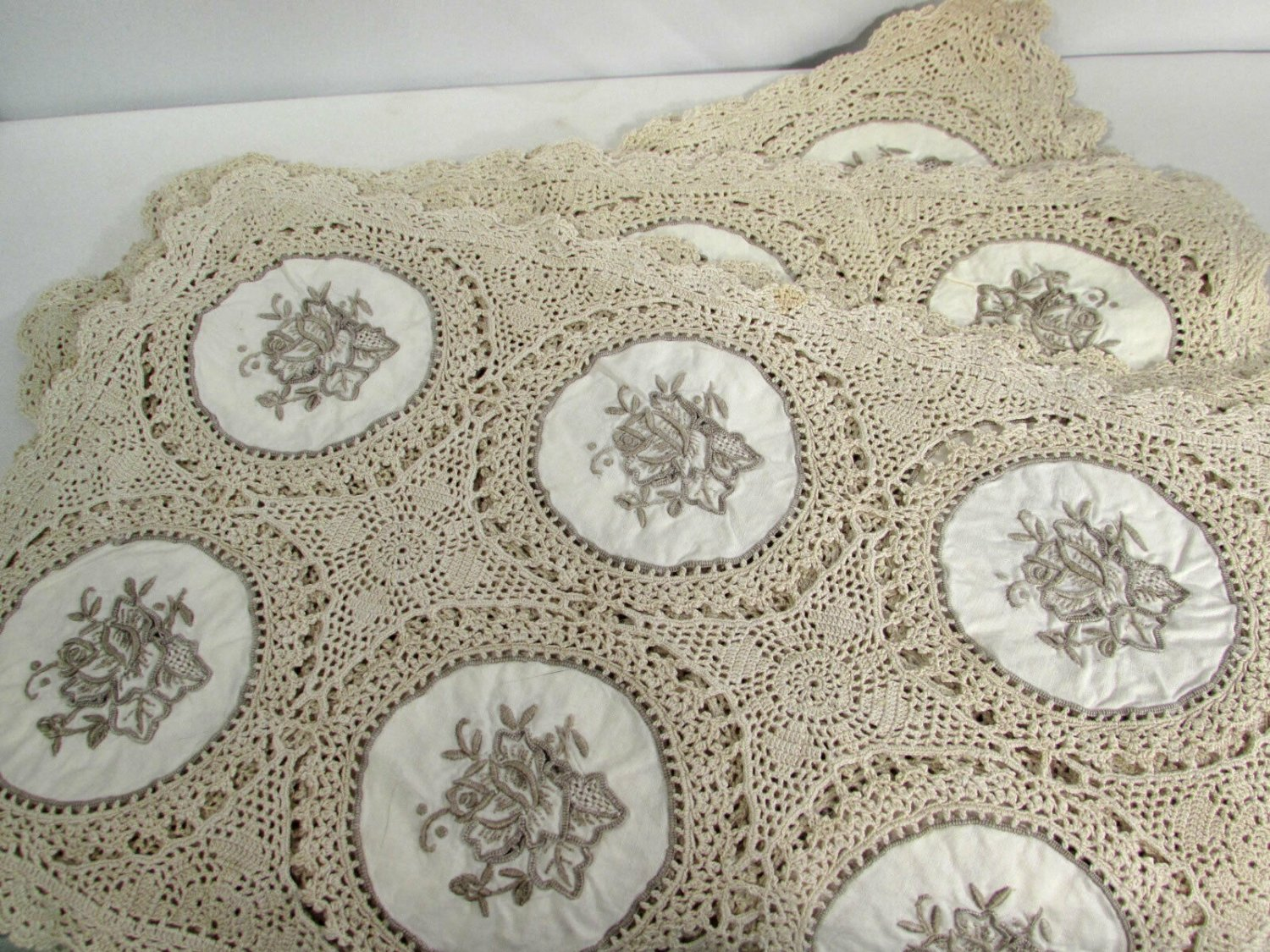 Crocheted & Embroidered Ecru Beige Placemats Set of 8, 13 x 18 1/2 Inches