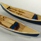 Vintage Black Moshannon State Park Mini Wood Canoes w/ Paddles (2) Blue & White