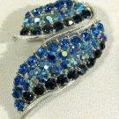 Vintage Lisner Signed Pin Brooch Blue Rhinestones Ribbon Silver Tone