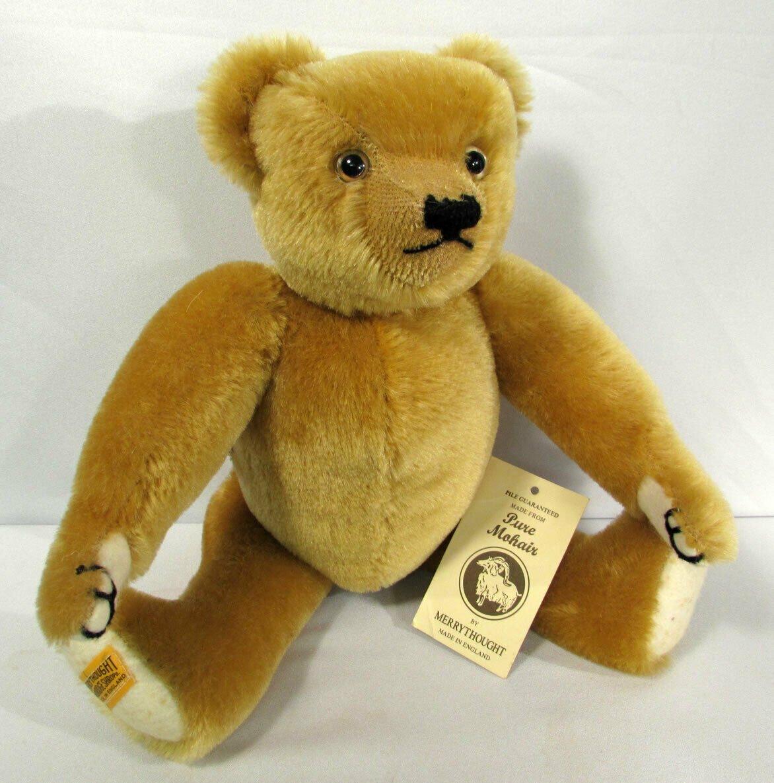 """Vtg Teddy Bear Jointed Merrythought 14"""" London Gold Mohair England """"Oscar"""""""