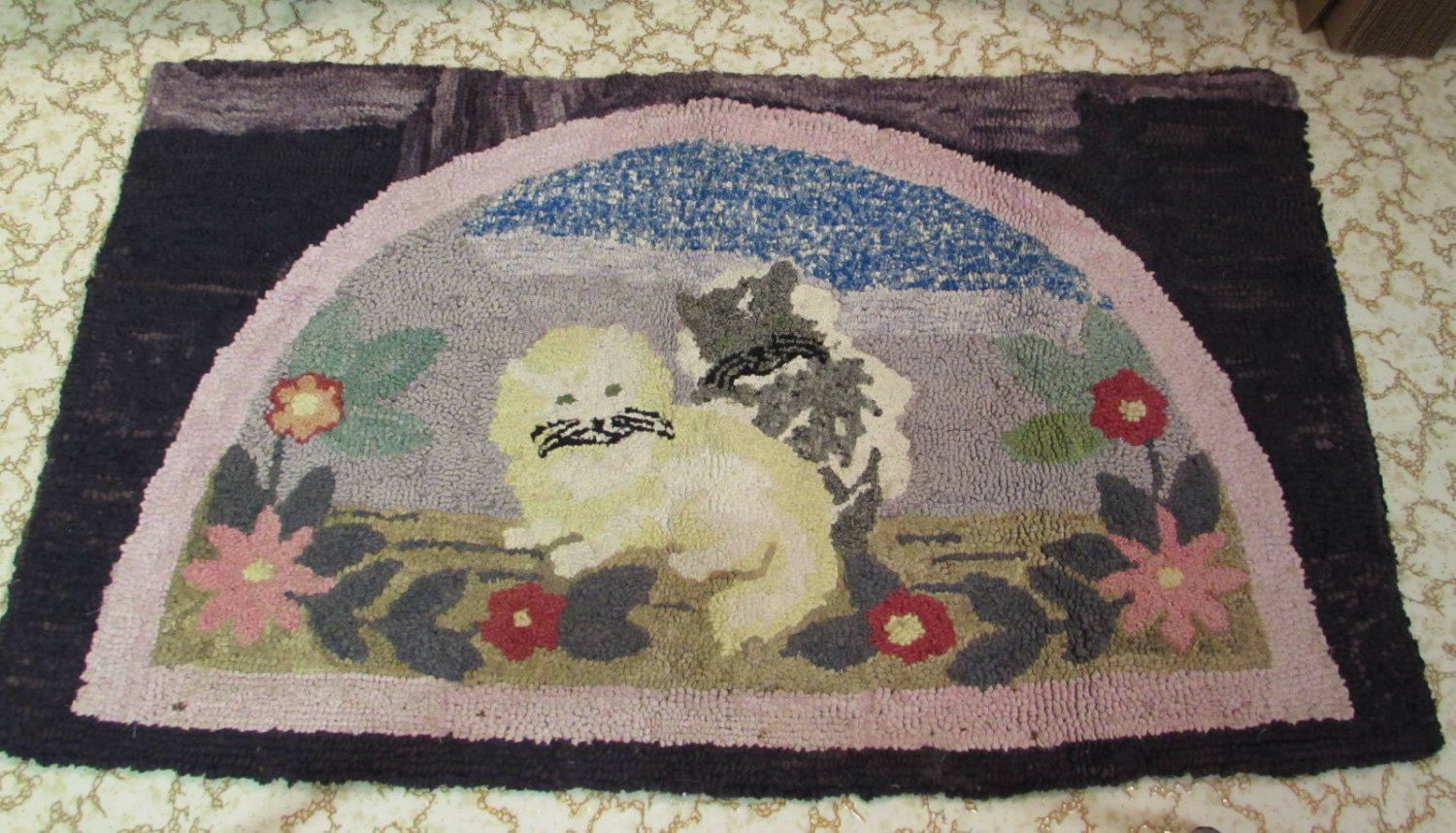 "Antique Hooked Rug Folk Art American Wool Fabrics 21 x 36"" Cats Floral"