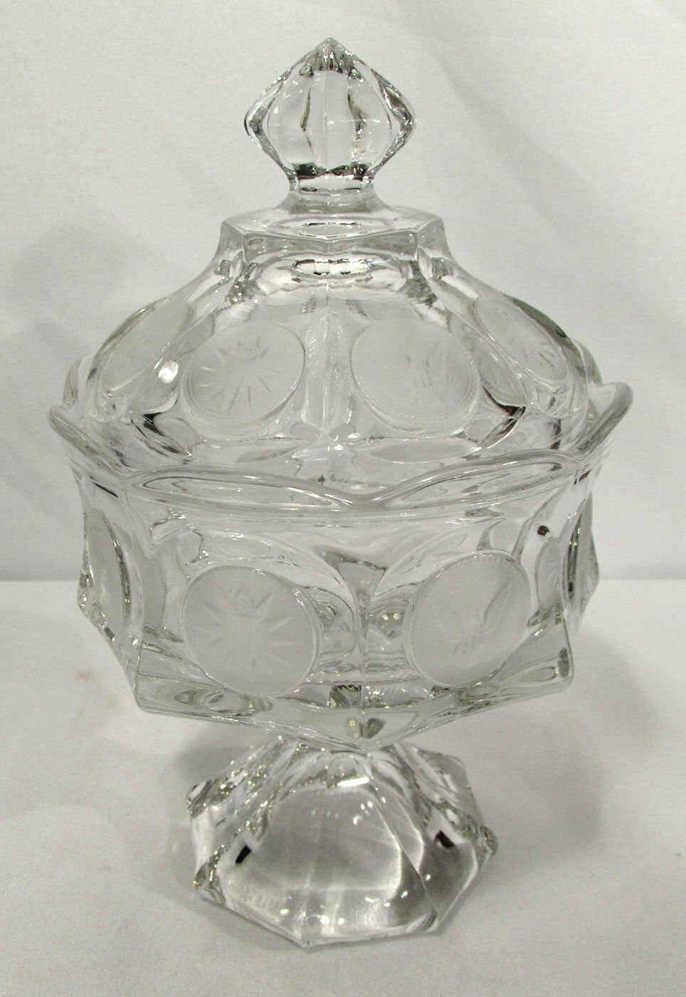 Fostoria Wedding Bowl w/ Lid Coin Glass Clear Compote 1372/162 Eagles Torches