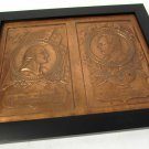 Copper Lead Pressed Plate Wall Art Geo Washington & Abraham Lincoln Bas Relief