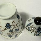 Gongfu Type Teacup or Tea Cup w/ Lid Brown Blue Vine Flowers Leaves