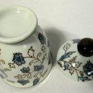 Gongfu Type Teacup or Tea Cup w/ Lid Brown Blue Vine Flowers Leaves