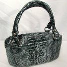 Adrienne Vittadini Purse Handbag Silver & Black Iridized Metallic Leather