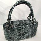 Adrienne Vittadini Purse Handbag Silver & Black Iridized Metallic Leather