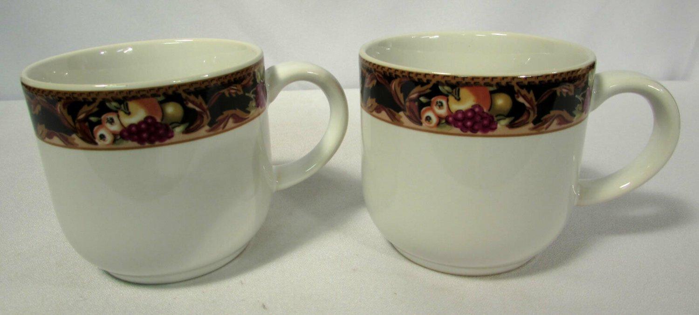 Vitromaster Avalon Flat Cups (2) Vintage 1992 Fruit Border Rim