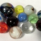 "Vintage Shooter Glass Marbles (12) Agate Cat's Eyes Swirls Blue Patch 7/8 to 1""+"