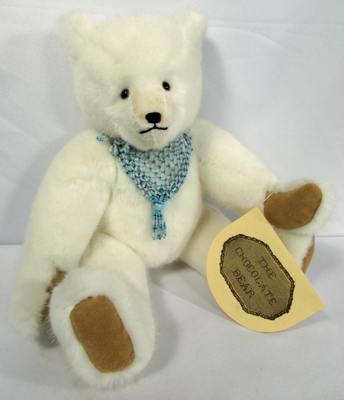 "Vintage Teddy Bear Jointed 1985 Catherine Bordi 14"" White ""Chocolate Bear"" #3564"