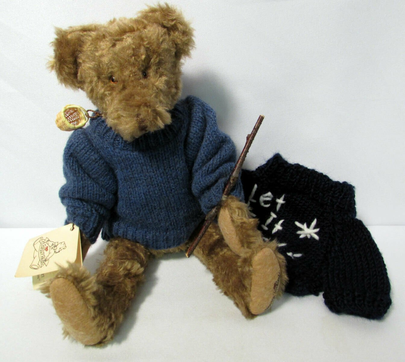 """Vintage 1998 Teddy Bear Brown Jointed Classic 12"""" High Signed Amanda Bailey"""