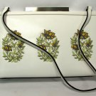 Adrienne Vittadini Purse Handbag Ivory Floral Embroidered Leather Summer