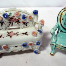 Vintage Occupied Japan Floral Doll Settee Sofa / Porcelain Victorian Chair