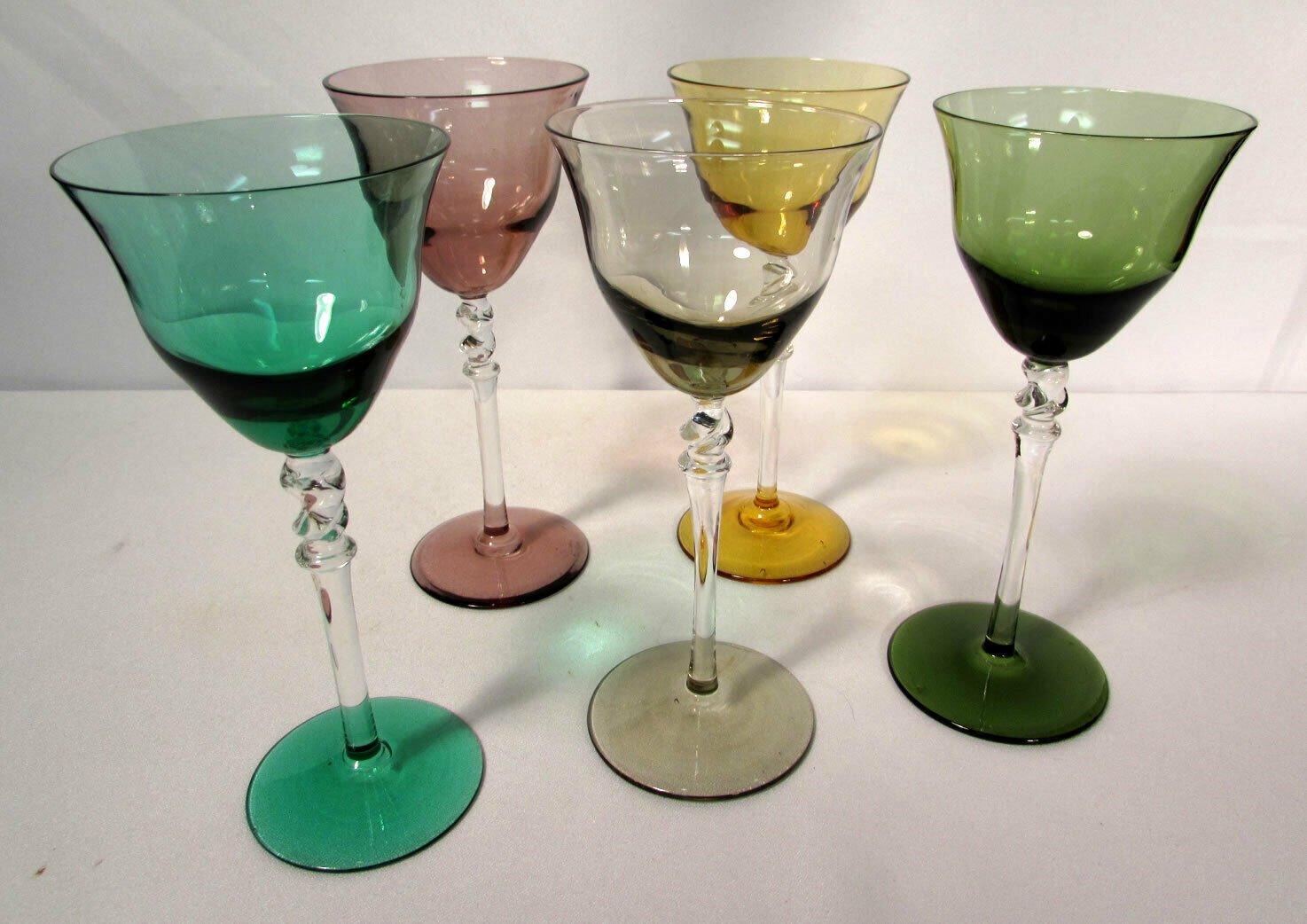 Vintage Colored Crystal Stemware Wine Goblets Set of Five 3 Oz Green Purple +