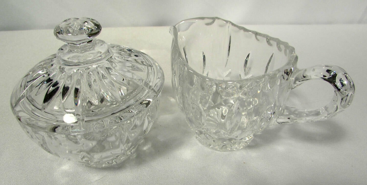 Vintage Pressed Glass Creamer & Sugar Set w/ Lid NICE