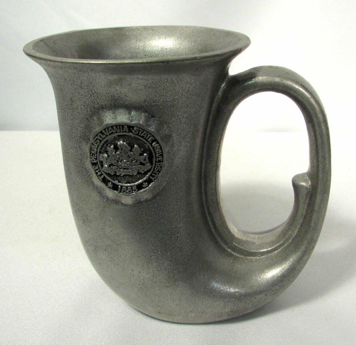 Vintage Penn State Mug Beer Stein Gray Metal Unusual Shape