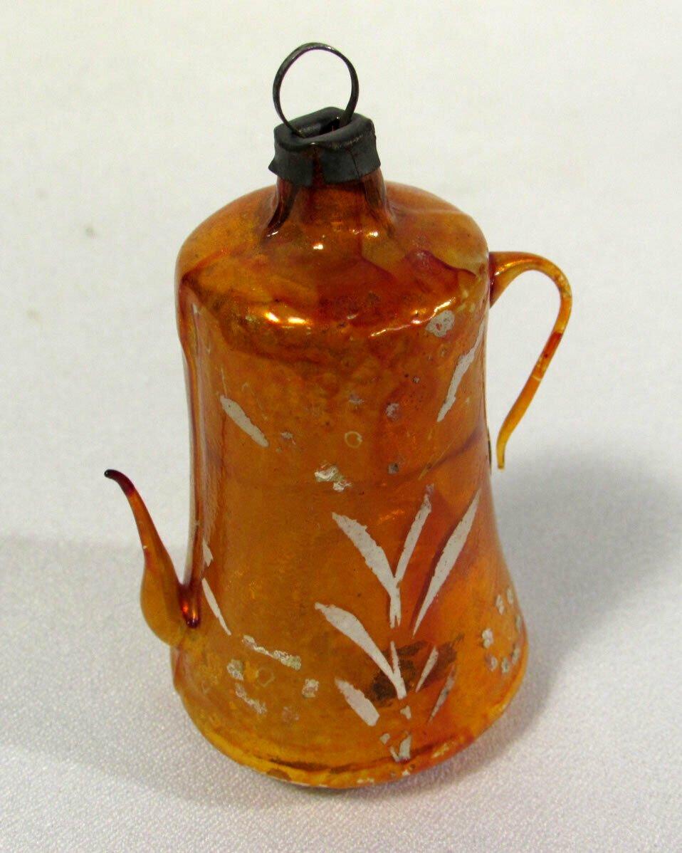 Vintage Glass Christmas Ornament Coffee Pot Free Blown Orange 2 1/2 Inches
