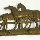 Vintage Brass Key Holder Equine Horses (3) Fence Tree Wall Hanging