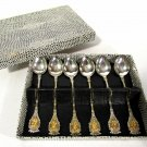 Vintage Set of 6 Silverplate Demitasse Spoons Made in Italy w/ Original Box
