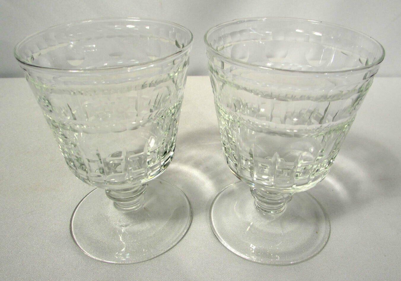 Vintage Crystal Stemware Goblets Desserts Set of Two 5 Ounces