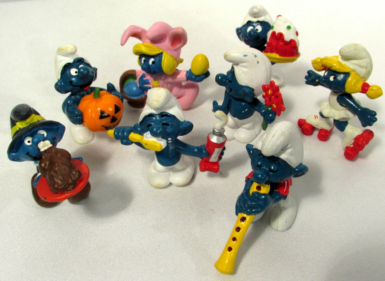 Vtg Peyo Schleich Smurfs Figures (8) Halloween Easter Thanksgiving +