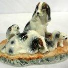 Vintage Occupied Japan Dog Family Porcelain Figurine Cocker Spaniel