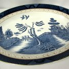 """Vintage Blue Willow Gold Trim Occupied Japan 15"""" Oval Serving Platter"""
